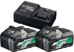 Hikoki 36V Booster Pack Booster-Pack 2 x BSL36B18 + UC18YSL3 14,4-36 Volt Ladegerät, 4.0Ah Slide Akku